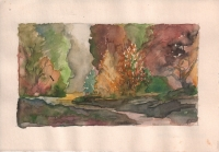 Landschap aquarel