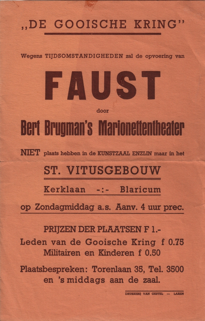 Poster Brugman's Marionettentheater